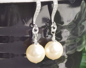 Ivory Pearl Earrings Swarovski Pearl Bridal Earrings Silver Cream Pearl Drop Earrings Wedding Jewelry Bridesmaids Earrings