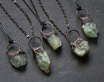 Raw Green Fluorite Pendant Necklace   Gemstone Necklace   Light Green Crystal Necklace   Raw Stone