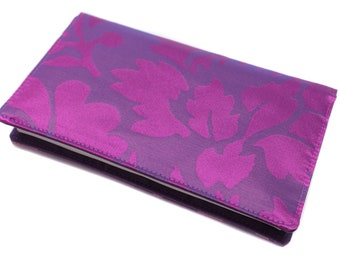 checkbook cover, purple and bright pink single model - worn woman checkbook - checkbook fabric