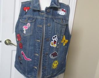denim jacket/vest  size XL upcycled womens distressed denim vest with patches  hippie jacket