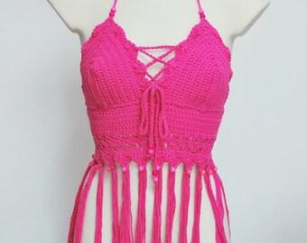 Fuchsia crochet fringe halter top, beautiful Fuchsia top bra, crochet fringe top, hippie summer tank