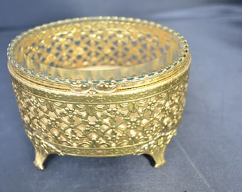 ormolu jewelry casket trinket box jewelry box Hollywood Regency vanity collectible/Offered by poshparagons for you or give as a gift
