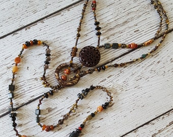 Beaded Lariat Necklace, Statement Necklace, Beaded Necklace, Festival Jewelry, Gemstone Necklace, Boho Beaded Necklace, Long Beaded Necklace