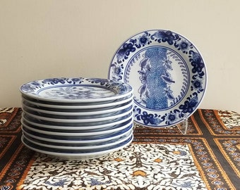 Vintage Blue and White Chinese Porcelain Plates | Set of Ten | Chinoiserie