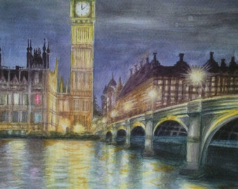 Watercolor landscape painting London evening painting night light westminster cityscape london art impressionist painting original