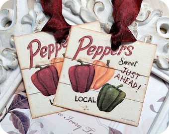 Peppers Tags (6) Food Gift Tags-Food Labels-Treat Tags-Thank You Tags-Gift Wrap Tags-Jar Labels-Vegetable Gift Tags-Tags for Food-Farm Tags
