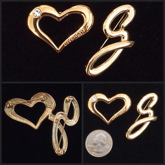 vintage-givenchy-heart-with-crystal-and-g-brooch-2pc-set by etsy