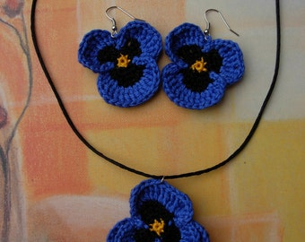 Crochet violet earrings and necklace/ Handmade cotton violets