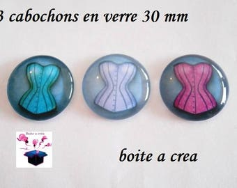 3 glass cabochons 30 mm for pendant or hanging bag number 11