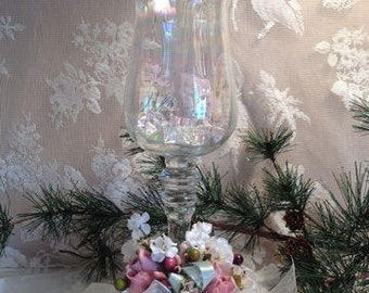Iridescent Goblet Brides Table Candle