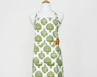 Green Artichoke Adult Apron - Kitchen Apron - Adult Cotton Apron with Artichokes - Adult Organic Apron - GOTS Certified