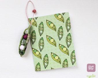 Peapod Set - peapod charm and card - Fabric peas in a pod ornament