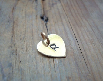 Medium Add On Personalized Monogram Heart Charm - Brass, Gold Heart Charm, Custom Initial Heart, Valentines Day. Mothers Day, Birthstone
