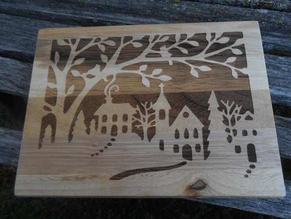 Christmas Cutting Board, Laser Engraved. Gift For Dad, Fathers Day, Wedding, Christmas, Groom. Town, Tree, Cabin, Rustic Decor