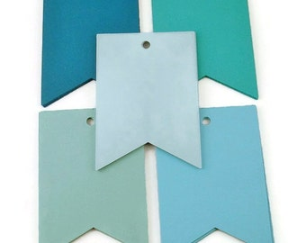 Large Paper Gift Tags Pennant Flag in Ocean Set of 30