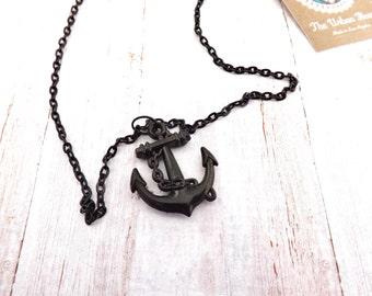 Rockabilly Pinup Anchor  Necklace / Nautical Black Necklace