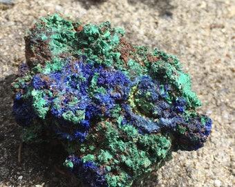 Raw Azurite And Malachite Druzy Specimen