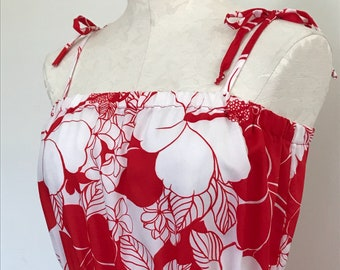 Vintage Red and White Hawaiian Floral Print Sundress with Stretchy Waist and Tie Shoulders