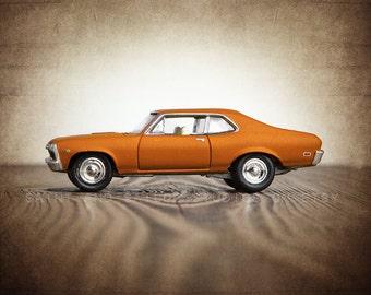 Vintage Orange 69 Chevy Nova Side View, One Photo Print, Boys Room decor, Vintage Car Prints
