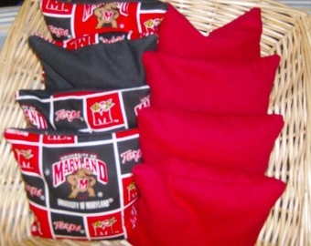4 Maryland Terps Corn Hole Game Bags and 4 Red Duck Canvas Corn Hole Game Bags