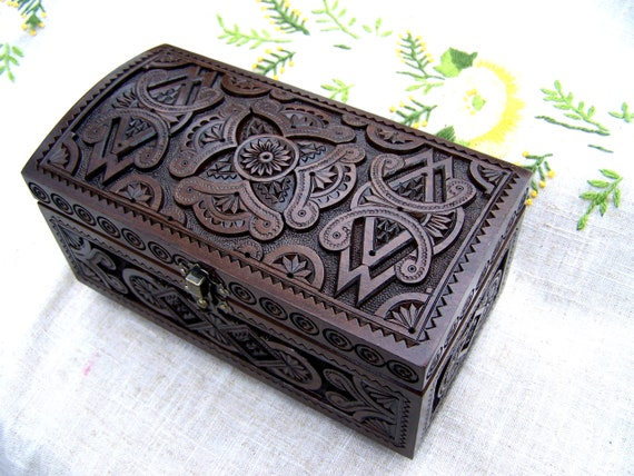 Jewelry box Wooden box Treasure box Carved wood box Ring box