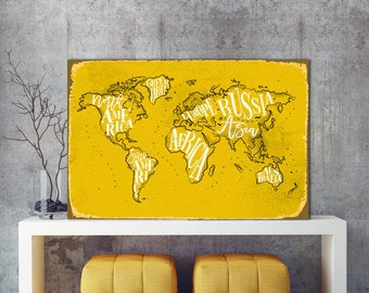 Yellow World map, World Map, Metal Map, Map metal sign, Metal sign, Map of the world, Map Sign, Yellow metal Map, Custom metal sign, Map Art