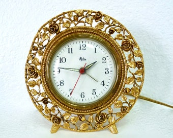 Vintage Matson Gold Gilt Ormolu, Flower Blossom Ornate Electric Clock Mid Century Working