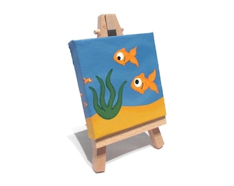 Little Orange Fish Mini Painting - original acrylic underwater scene on miniature canvas, with easel or ribbon hanging. Goldfish art