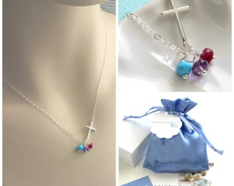 Personalized Gift For Mom • Birthstone Jewelry • Mother's Gift • Custom Mom Gift • Birthstone Necklace • Mother's Necklace • Side Cross