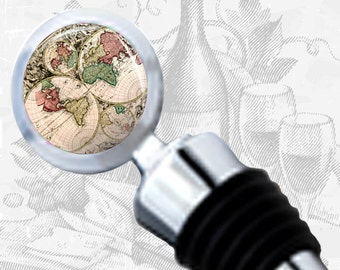 Antique World Map Wine Stopper