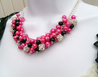 Hot Pink and Black Beaded Necklace, Rhinestone Bridesmaid Jewelry, Cluster Necklace, Chunky Necklace, Bridesmaid Gift, Bridesmaid Necklace