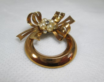Gold Bow Jewel and Pearl Brooch 1930s Vintage