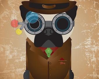Steampunk Pug Art Print
