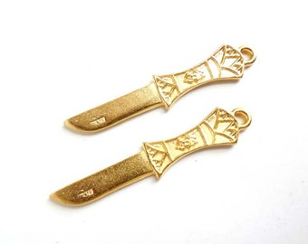 2 Gold Knife Charms - 21-60-5