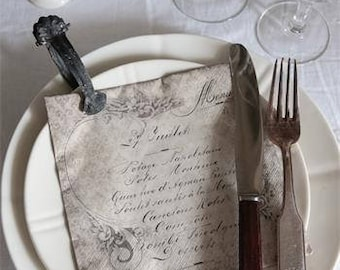 Vintage Look Napkin with French Text
