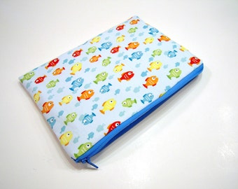 Zippered Pouch in Blue and Multicolored Fish