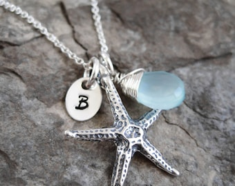 Sterling Silver Starfish Necklace, Gifts for Beach Lovers, Starfish Jewelry, Beach Necklace, Initial Necklace, Star Fish Necklace, for Women