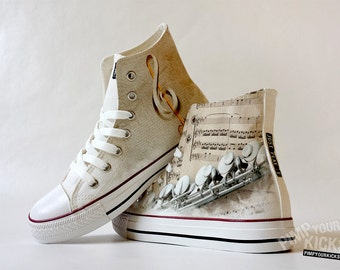 Flute, Sheet Music, Custom Made Shoes