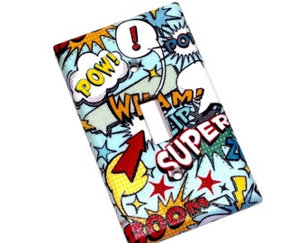 Superhero Comic Book Action Words Light Switch Plate Cover