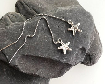 Starfish Threader Earrings, Sterling Silver, Sand Cast Starfish