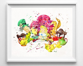 Alice in wonderland Poster, Disney Print, Mad Hatter, Alice, Watercolor Art, Gift For Mom, Nursery Decor, Baby Room, Fathers Day Gift