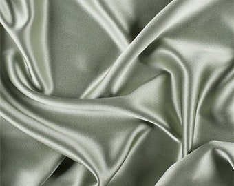Dark Sage Silk Crepe Back Satin, Fabric By The Yard