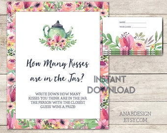 Guess How Many Kisses, Bridal Shower Game, Bridal Shower Tea, How Many Kisses? Tea Party, Tea Party Floral, Shower Game, Printable No. 1018