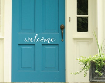 Front door welcome sign sticker decal DB405