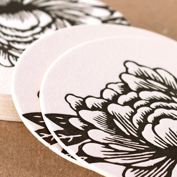 Letterpress Coasters : Noir Blossoming Flower Coasters - box of 6 coasters in simple kraft box
