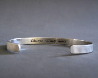 Sterling silver personalized mens bracelet, engraved silver cuff, Mens cuff made to order, Mens jewelry