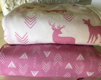 Diaper Burp Cloth Woodland Baby Deer Buck Forest Orchid Pink Feathers Arrows Two Diaper Burp Cloths Nursery Baby Gift Shower Gift