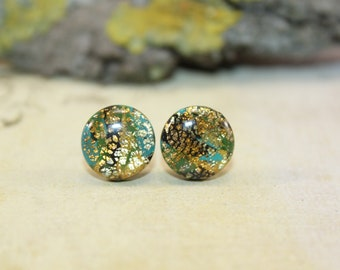 Gold and olive stud earrings