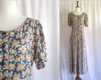 Vintage 90s grunge blue floral print rayon dress / midi maxi / short sleeved