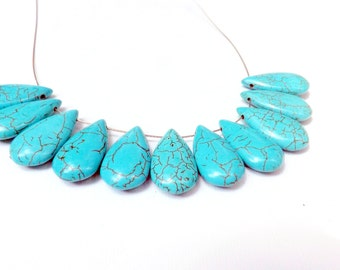 Turquoise Teardrops  large  Howlite Beads  28 x14 mm  11 Pc. Set